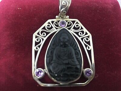 ASIAN JEWLLERY BUDDHA  925 SILVER PENDANT CRYSTAL AND JADE