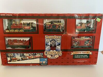 Northpole Christmas Express Battery Operated Animated Train Set Vintage 1996