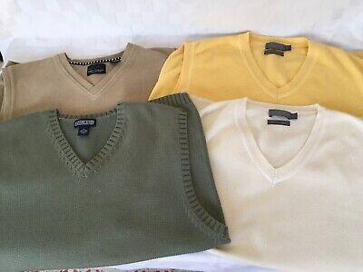 Four Size XL Sweater Vests, 100% Cotton, Lands End, 2 Talbots, & Greg Norman