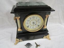 ANTIQUE SETH THOMAS 8 DAY CHIMING AND BELL ADAMANTINE MANTLE CLOCK GOOD RUNNING