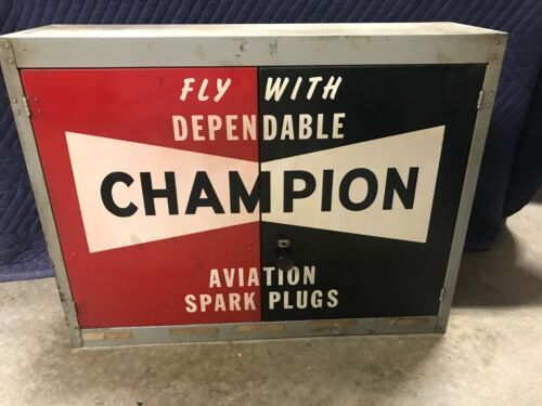Vintage Champion Aviation Spark Plug Metal Cabinet