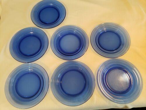 "7 HAZEL ATLAS MODERNTONE COBALT BLUE 9"" DINNER PLATES"