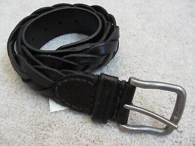 🔥 $50 NEW ABERCROMBIE & AND FITCH A&F Woven Black Genuine Leather Belt Size 32