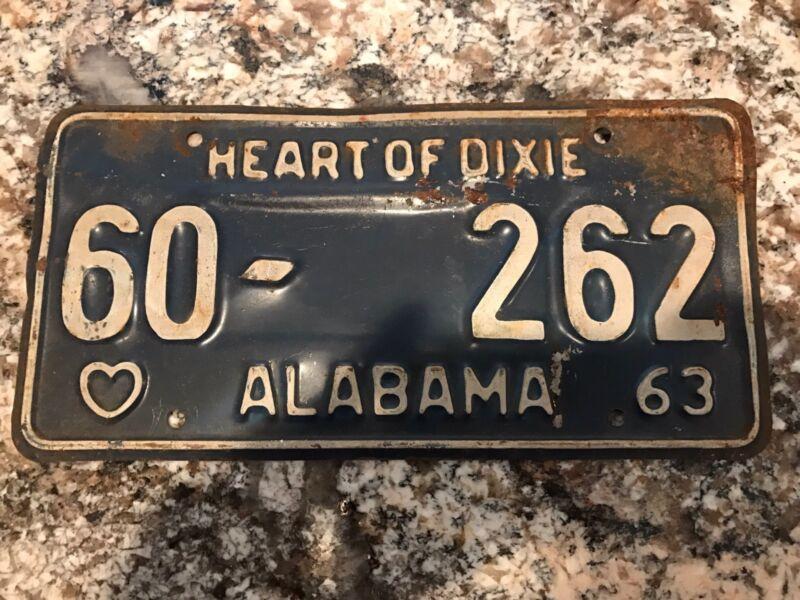 1963 Alabama License Plate 60 262