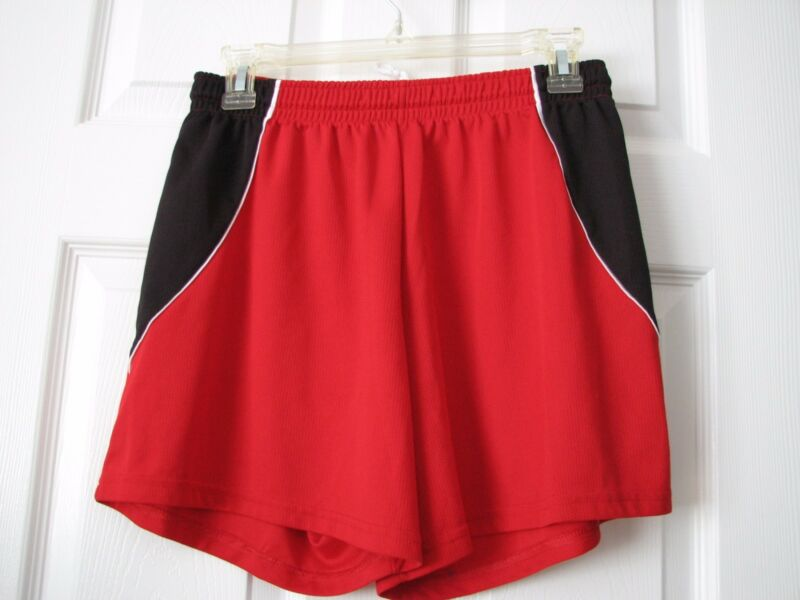 WOMEN'S LARGE RED POLYESTER SPORTS SHORTS ATHLETIC WEAR BY AUGUSTA BASKETBALL