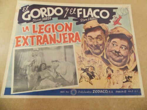 """BEAU HUNKS(1931)LAUREL AND HARDY ORIGINAL MEXICAN LOBBY CARD 12""""BY16"""" NICE!"""