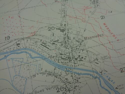 WW1 (1917) TRENCH MAP (Pre - BATTLE of CAMBRAI) - St Quentin Canal & MASNIERES