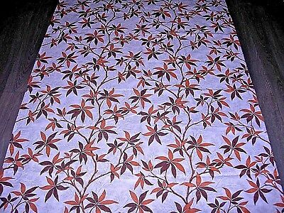 Vintage 60s 70s brown autumn leaf branches large length fabric / curtain