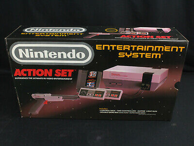 NOS New Nintendo NES Action Set Console - Original Printing w/Gray Zapper Gun!!