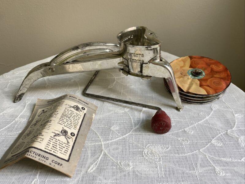 Vintage Mouli Julienne w/ 4 Discs; Recipe Pamphlet- Patent Pending