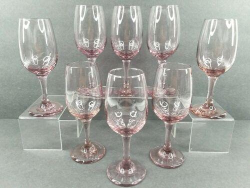 """8 Libbey Premier Pink Water Goblets Set 7.25"""" Vintage Elegant Stemware Glasses"""