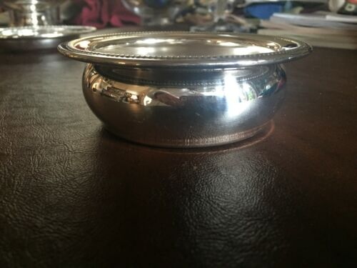 """Classic Vintage Silver Plate Wine Water Bottle or Candle Coaster 4 3/8"""" diameter"""