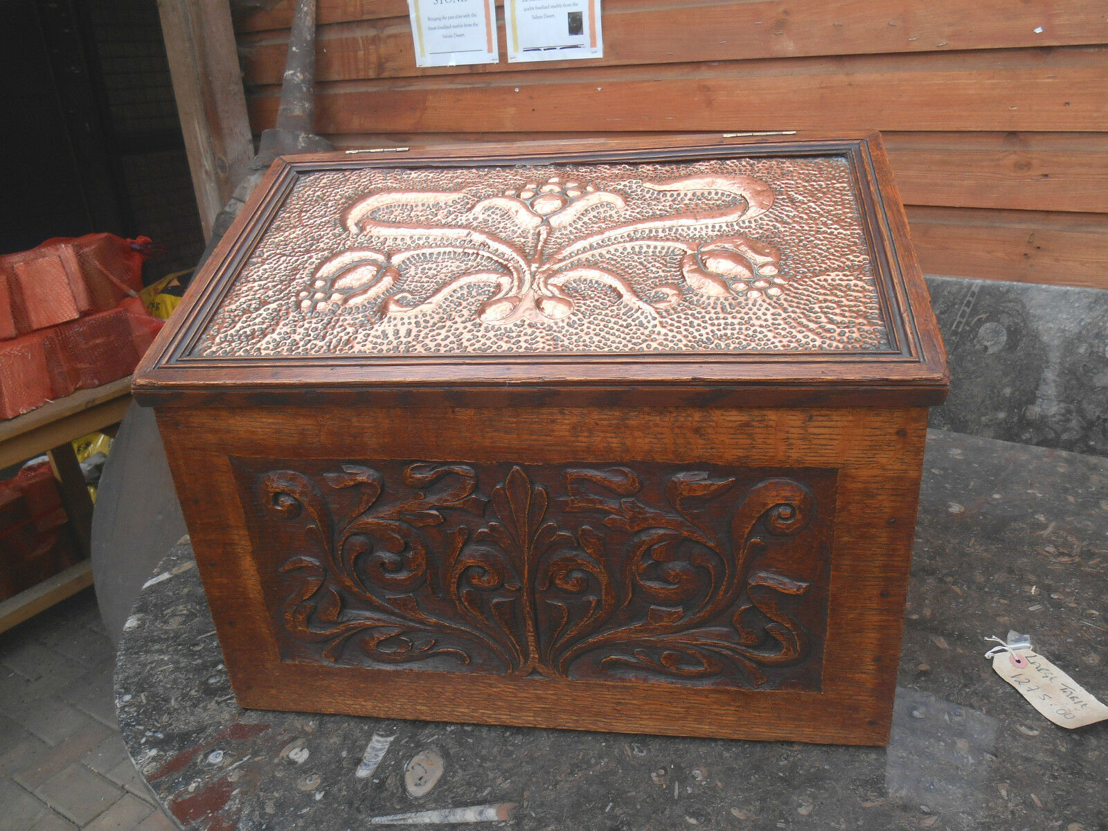Arts and Crafts Copper and Oak Carved Log Box C 1910  23 inch stunning