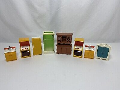 Vintage LOT 1980s Fisher Price Dollhouse Family Furniture