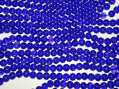 New Blue Crackle Glass 8MM Beads 100pc Loose Round Spacer Bead Free Shipping 8MM