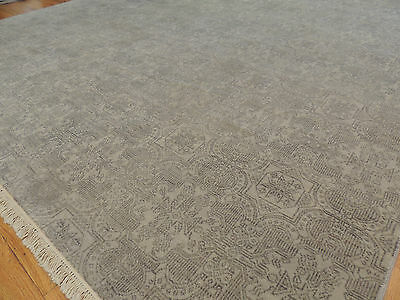 GRAY Modern Ikat Oriental Area Rug 8x10 neutral gray solid color WOOL Neutrals 8 Square Area Rug