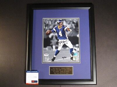 BRETT FAVRE AUTOGRAPHED FRAMED 8X10 PHOTO NFL RECORD 22ND GAME/4-TD PASSES PSA Brett Favre Td Record