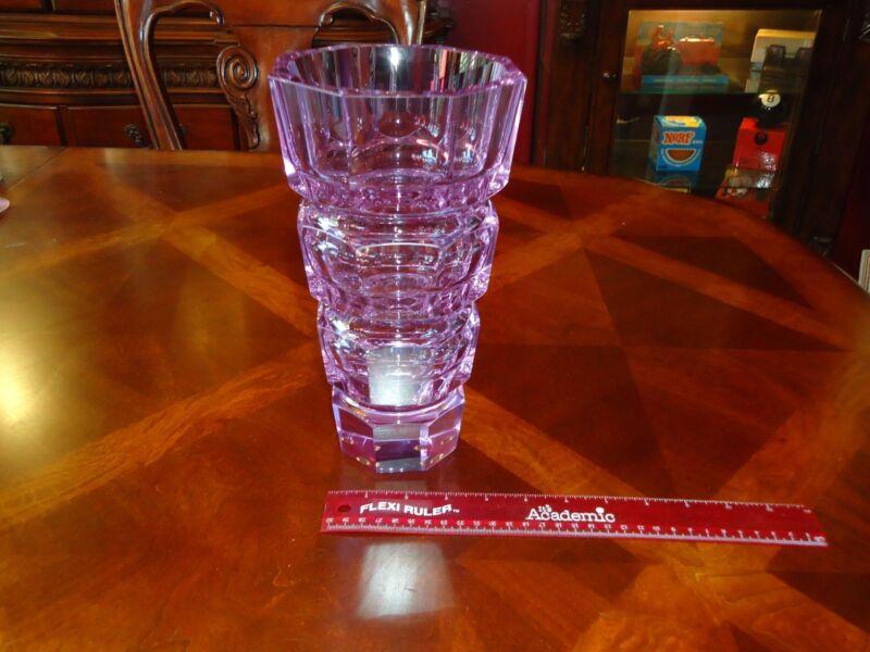 "RARE Art Deco cut crystal MOSER PURPLE/ VIOLET 10"" vase czech mid century modern"