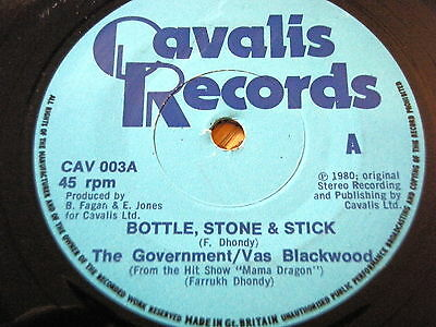 "THE GOVERNMENT / VAS BLACKWOOD - BOTTLE, STONE & STICK   7"" VINYL"