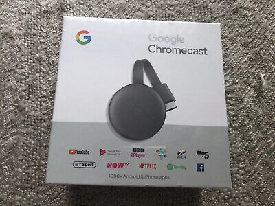 Google Chromecast 3rd Generation Media Streamer Google Chrome - Black New Sealed