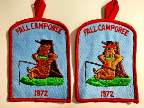 Lot of 2 vintage 1972 FALL CAMPOREE patches boy scouts pre-owned