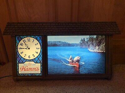 1960s HAMM'S BEER Scenarama Style CLOCK Sign w/ SASHA & EARL