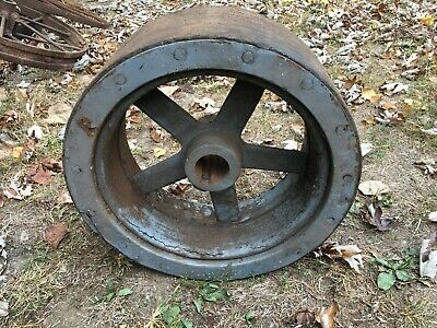 Vintage Old Steel Tractor Belt Pulley Cast Iron 15.5 Diameter Farm Fresh