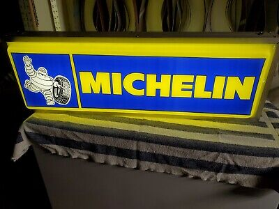 """Vintage Michelin Tires Double Sided Lighted Up Sign Bibendum 36'' X 12'' X 6"""""""