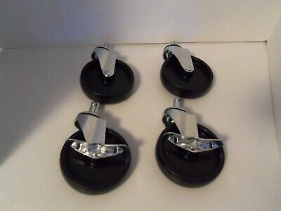 4 Pack 4 Caster Wheels Swivel Plate Lock Brake Polyurethane 2 Wheels Lock