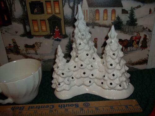 WHITE TRIPLE CERAMIC XMAS TREE LITE VTG INSPIRED TREE + LIGHT CORD NO TREE BULBS