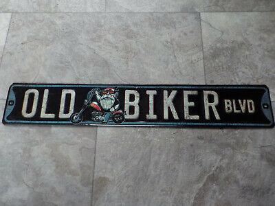 Old Biker Blvd 2 Ft Metal Tin Sign Mancave Motorcycle Biker Garage Faux Distress