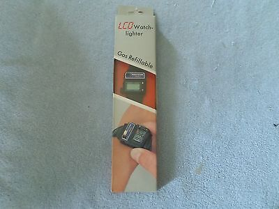 VINTAGE 1986 LCD WATCH LIGHTER - WRISTFLAME PIEZO - GAS REFILLABLE - NIP
