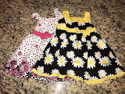Lot of  2 SweetHeart Size 18 Months Baby Girl Flower Print Dresses ](Size 18 Flower Girl Dresses)