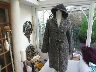 Kaliko ladies grey fleck 90% thick wool hooded cardigan coat classy stylish 8 for sale  Truro