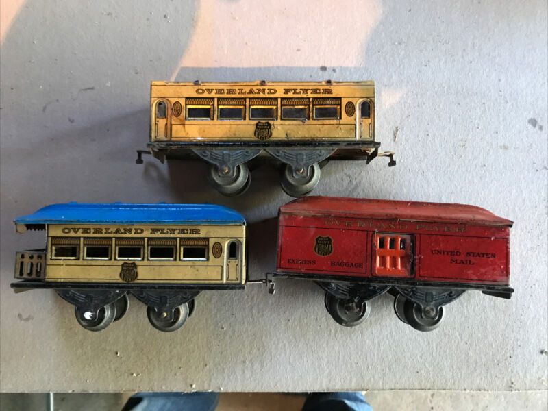 3-Vintage Scarce Rare? Overland Flyer O tin train car Union Pacific Line 4 Wheel