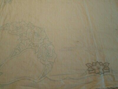 VINTAGE HAND EMBROIDERED LINEN TABLE CLOTH  (unfinished) 112 x 112 cm