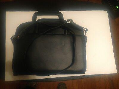 Expandable File Case Black Leather 10 Dividers 2 Zip Compartments Handlestrap