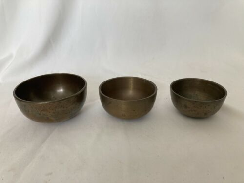 Japanese Vintage old Buddhist Altar Fitting Orin Bell Singing Bowl 3 pcs H