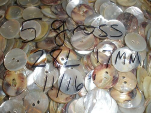 """5 Gross 17mm MOP Pearl thick buttons 28L 11/16"""" 2-H 720pc flat back real shell"""