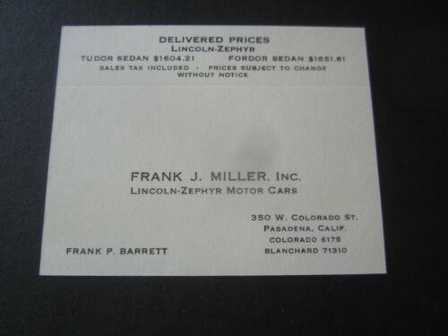 Old Vintage c.1940 - Lincoln Zephyr MOTOR CARS - Pasadena BUSINESS CARD - Miller