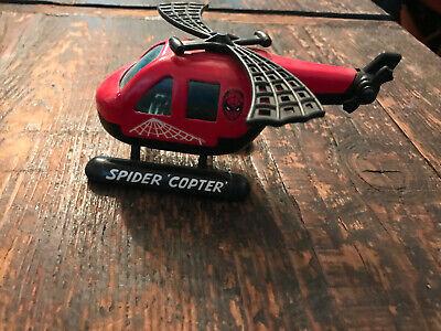 """Spiderman Spider Copter Buddy L Vintage 5"""" Helicopter 1980 Marvel Red"""