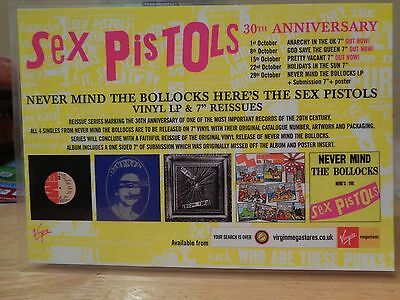 SEX PISTOLS 30TH ANNIVERSARY NEVER MIND THE BOLLOCKS  RARE VIRGIN  SEX PISTOLS