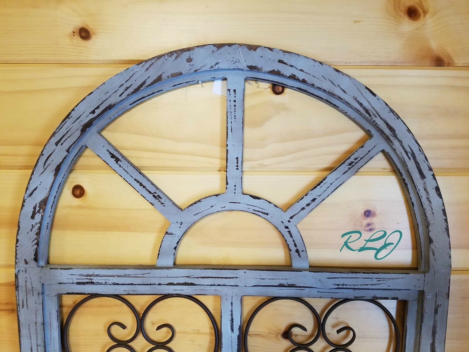 DISTRESSED SHABBY RUSTIC Wood Metal Scroll Garden Gate Arched Window ...