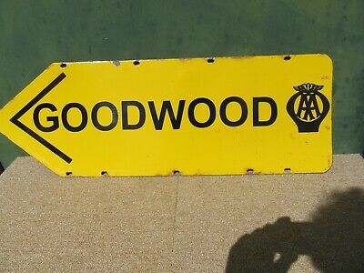 VINTAGE EARLY ORIGINAL AA GOODWOOD ENAMEL SIGN MOTOR RACING ?