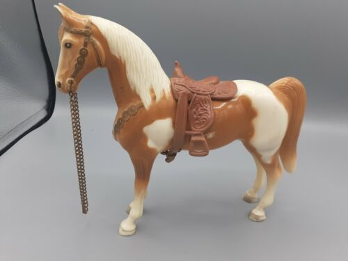Vintage Western Tan and White Palomino Horse Molded, Chain Reins, Saddle