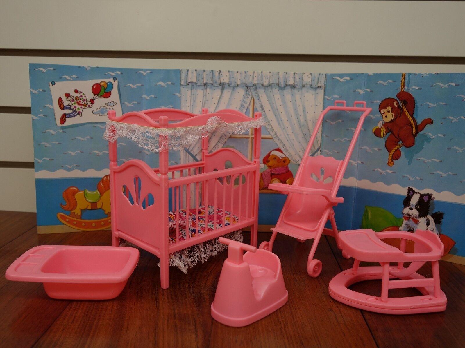 GLORIA DOLLHOUSE FURNITURE SIZE BABY HOME NURSERY W//CHAIR PLAYSET FOR BARBIE