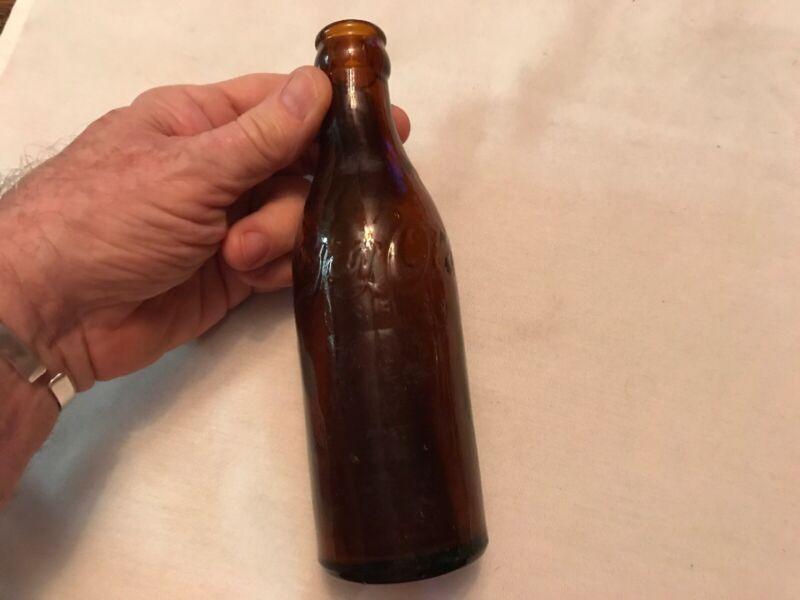 GAY OLA Vintage Amber Glass Embossed Soda Bottle, Circa 1920