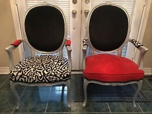 2 Red, Black and White Chairs