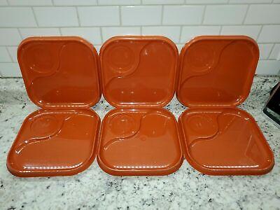 Vintage Whataburger Plastic Orange Breakfast Trays Plates - Set of 6