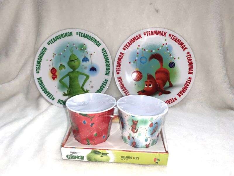 4pc Melamine GRINCH SET 2 Christmas Holiday Plates Cups Dr Seuss